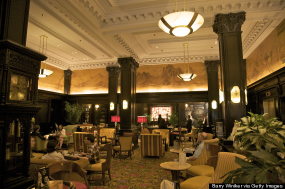 Interior of Algonquin Hotel, built 1902 by architect Goldwin Starrett, Lobby, home of the famed Round Table of writers, midtown, New York, NY