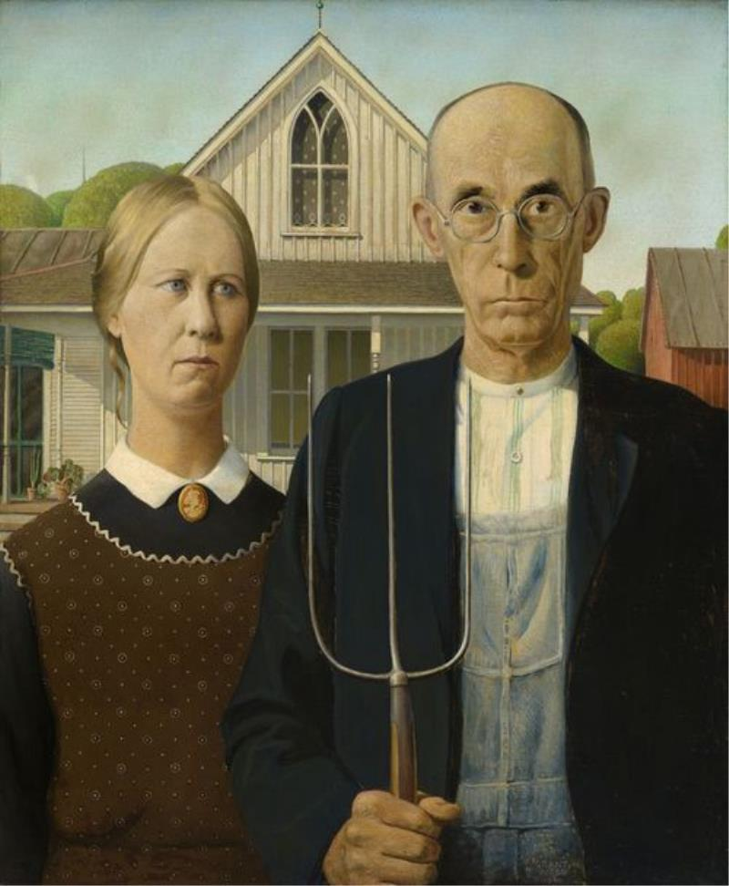 american gothic di grant wood, 1930