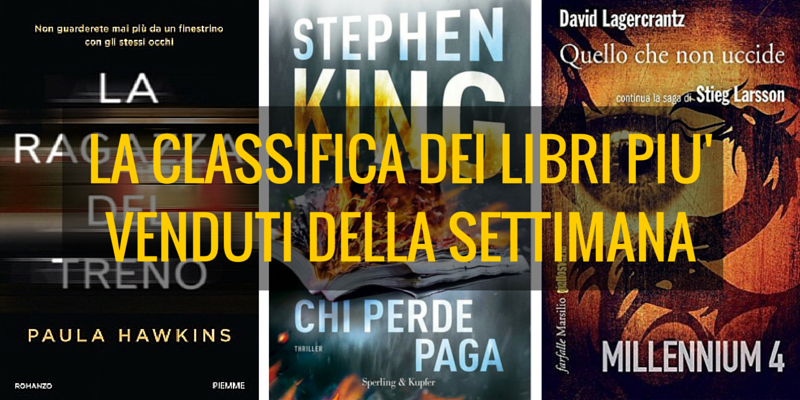 Classifica libri più venduti. Hawkins 1° posto, King al 2° posto.