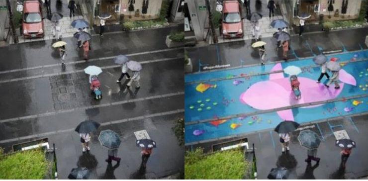 Corea del Sud, ecco i murales che si vedono solo quando piove