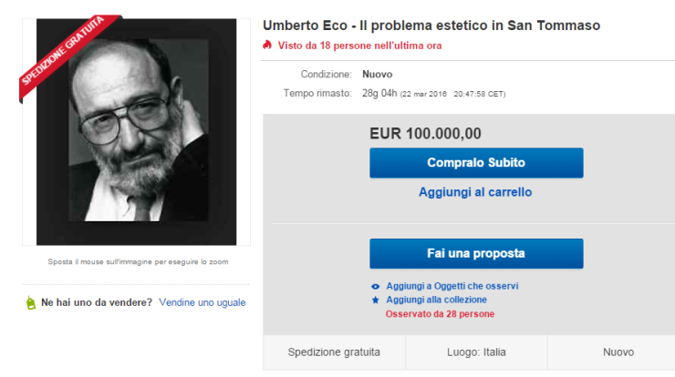 Umberto Eco, la sua tesi di laurea in vendita su Ebay a 100 mila euro