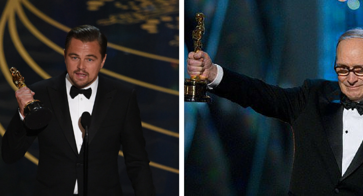 Premi Oscar 2016, trionfano Ennio Morricone e Leonardo Di Caprio