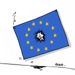 """""""Un attacco al cuore dell'Europa"""" del vignettista francese Baudry"""