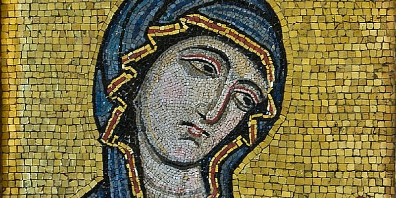 12th century mosaic, Byzantine-style mosaic showing the Virgin as Advocate for the Human Race, Palermo Cathedral, c.1130-1180 AD Courtesy of Museo Diocesano