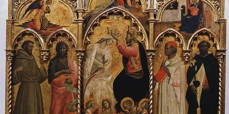 Giovanni dal Ponte, Incoronazione della Vergine fra quattro santi, Firenze, Galleria dell'Accademia, dettaglio della prova di pulitura del manto della Vergine