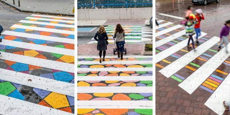 A Madrid strisce pedonali trasformate in opere d'arte