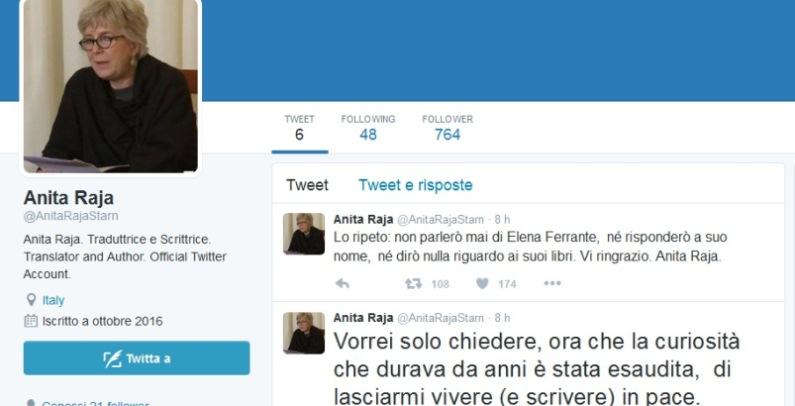 """Anita Raja su Twitter, """"Sono Elena Ferrante"""". Ma si tratta di un profilo falso"""
