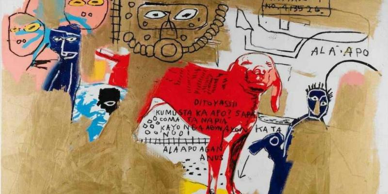 Jean-Michel Basquiat e Andy Warhol Dog, 1984  Acrilico, inchiostro serigrafico, pastello a olio e olio su tela, cm 202,9 x 269,6  Mugrabi Collection