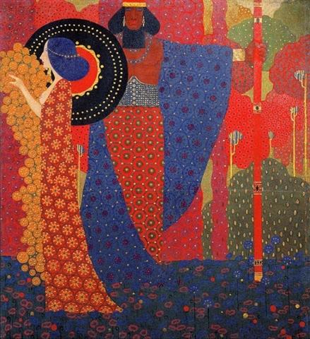 Vittorio Zecchin (Murano, 1878 – 1947) Principessa e guerriero, 1914 Olio e oro su tela Ca' Pesaro - Galleria Internazionale d'Arte Moderna, Fondazione Musei Civici di Venezia