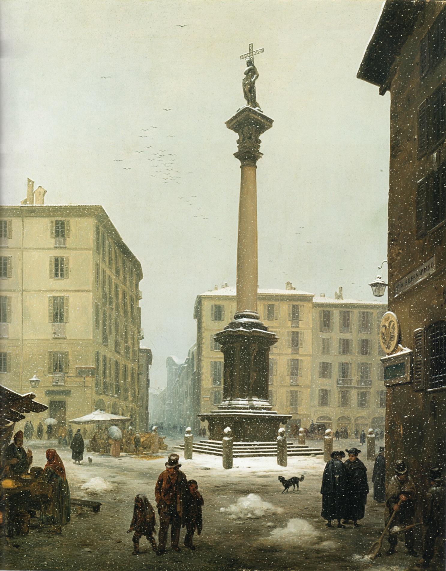 La colonna di S. Martiniano al Verziere con effetto di neve - Inganni A.