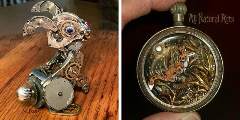 Sue Beatrice, le opere d'arte create riciclando vecchi orologi