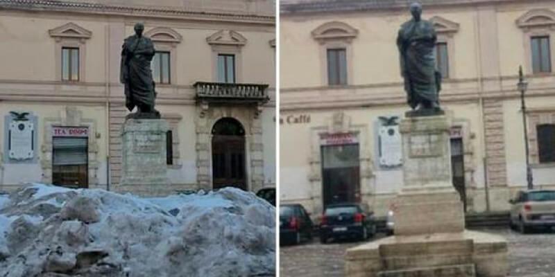 Sulmona, toglie a sue spese la neve dalla piazza e viene multato