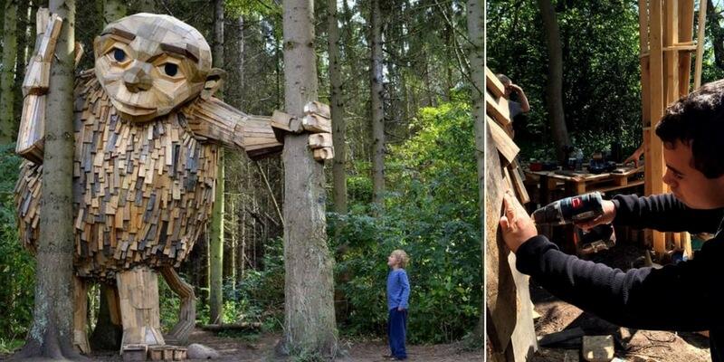 Storia dell'artista che nasconde giganti di legno nella foresta per promuovere natura e riciclo
