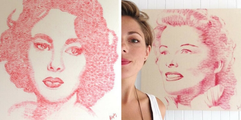 Alexis Fraser, l'artista che realizza ritratti d'autore con i baci