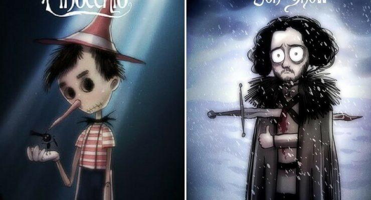 I personaggi Disney e di Game of Thrones rivisitati in stile Tim Burton