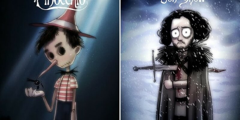 I personaggi Disney e di Game of Thrones rivisitati in stile Tim Burton
