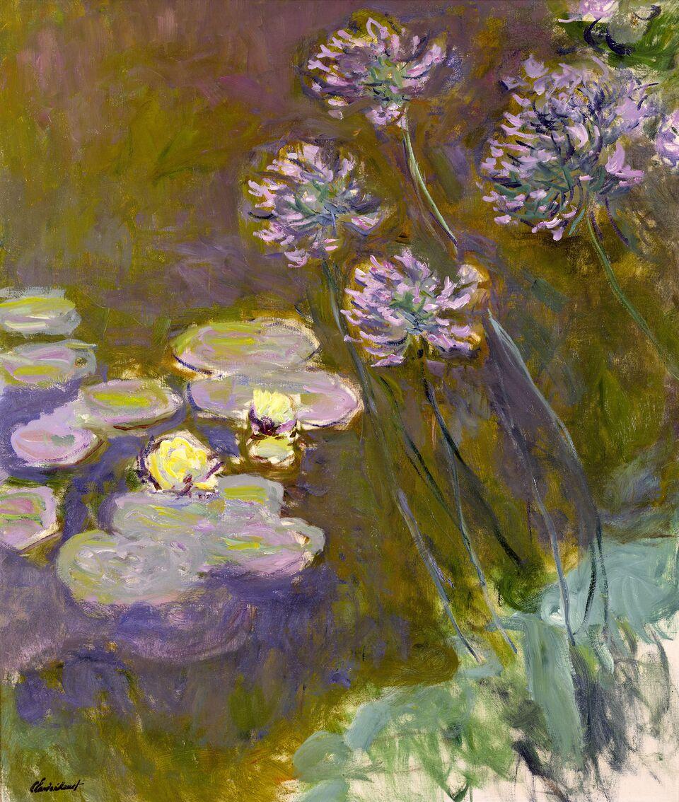 Claude Monet (1840-1926) Ninfee e agapanti , 1914-1917 Olio su tela, 140x120 cm Parigi, Musée Marmottan Monet © Musée Marmottan Monet, paris c Bridgeman-Giraudon / presse