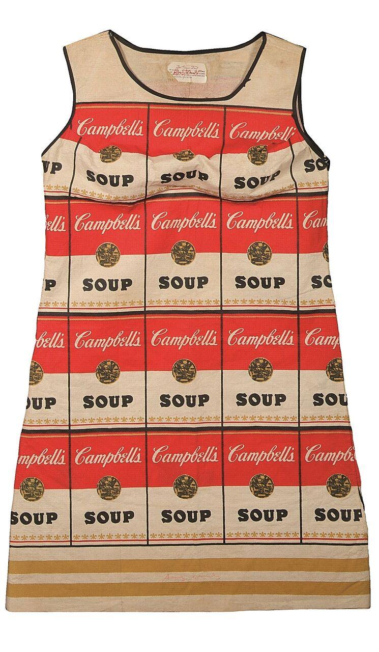 ANDY WARHOL Campbell's Soup Dress 1968 Stampa su cotone e cellulosa Coll. Rosini Gutman_preview