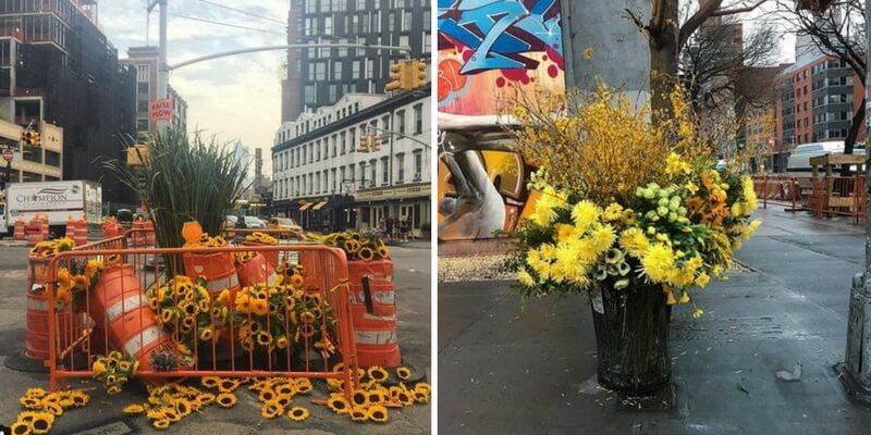 Fiorista crea composizioni floreali nei cestini di New York