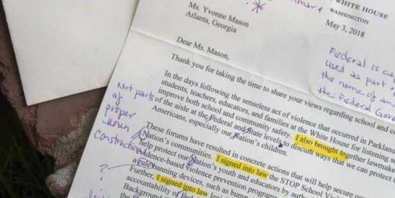 """""""Piena di errori"""", insegnante americana corregge lettera di Donald Trump"""