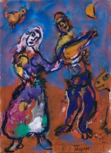 Chagall Musicien et danseuse
