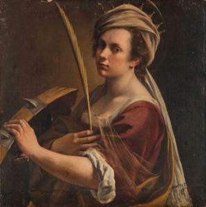 artemisa-autoritratto-come-Santa-Caterina