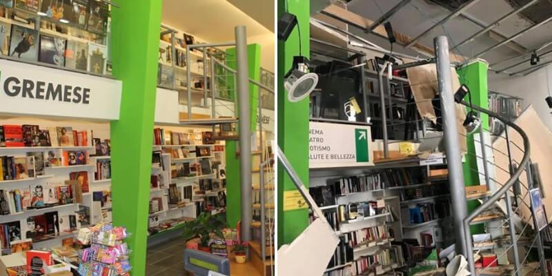 Crollo del controsoffitto, la Libreria Gremese di Roma costretta a chiudere