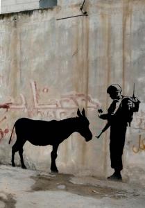 Banksy Asino e soldato israeliano