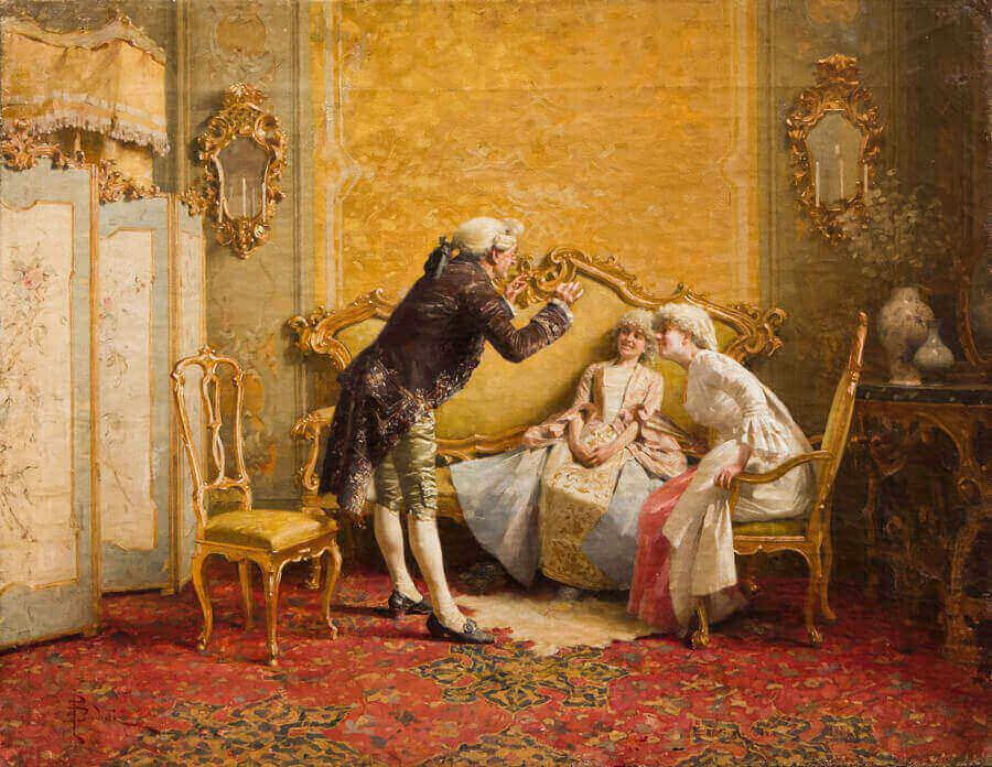 2. Giovanni Paolo Bedini Colloquio galante olio su tela 355 x 455 cm collezione privata