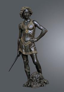 Andrea del Verrocchio (Firenze, 1435 circa - Venezia, 1488) David vittorioso 1468-1470 circa. Firenze, Museo Nazionale del Bargello, inv. Bronzi 450 (testa di Golia) e Bronzi 451 (David)