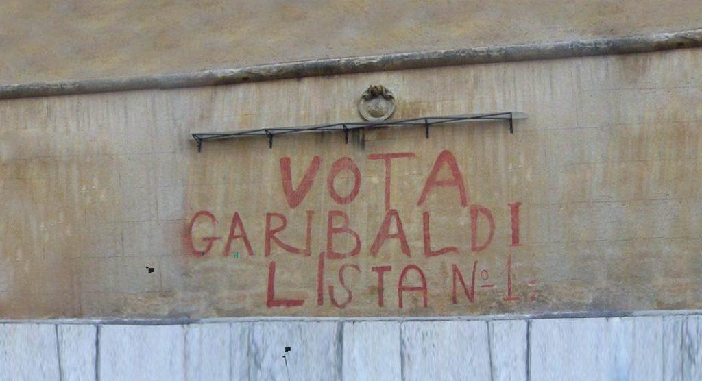 Vota Garibaldi, cancellata scritta storica a Roma