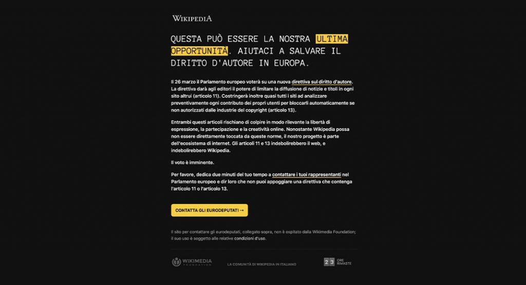 Wikipedia è oscurata per protesta contro la legge sul copyright