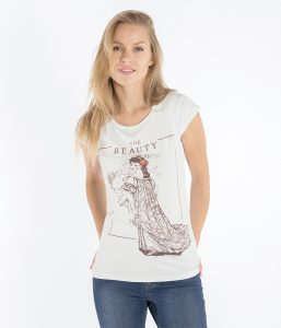 beauty ventaglio t shirt donna slim beauty and the beast
