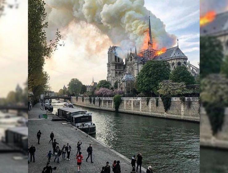 A fuoco la cattedrale di Notre-Dame a Parigi