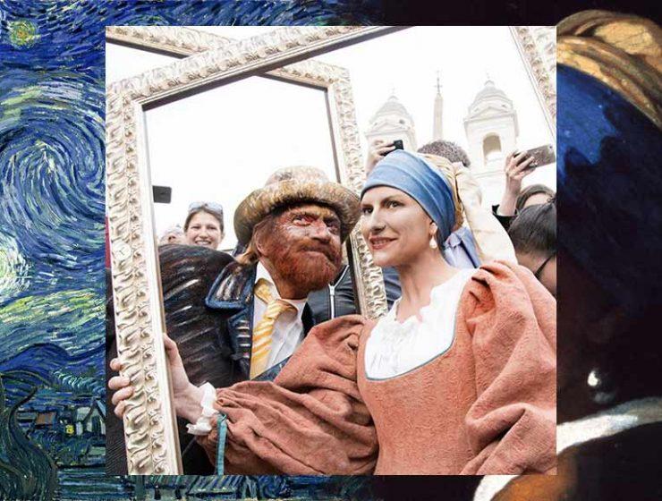 Antonacci e Pausini travestiti da Van Gogh e da Ragazza con l'orecchino di perla