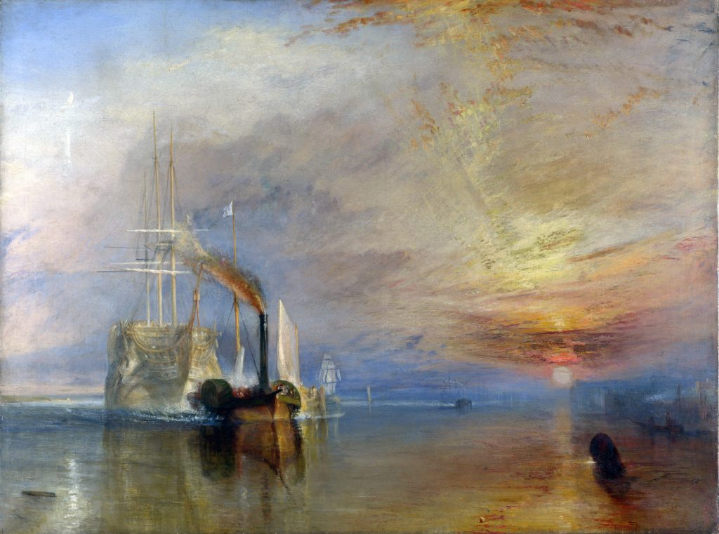 Turner J. M. W. The Fighting Téméraire tugged to her last Berth to be broken