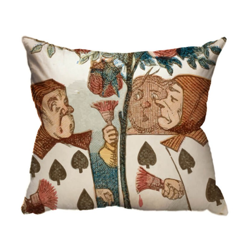 le carte della regina cuscino arredo john tenniel alice in wonderland