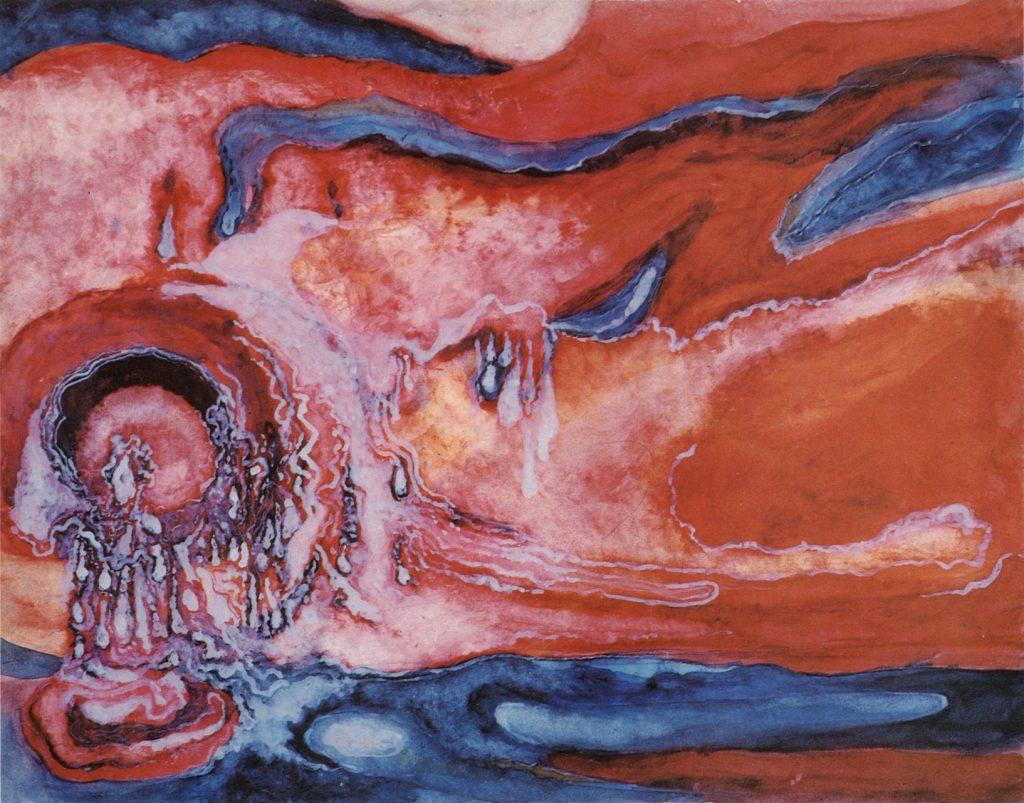 Giovanni Testori Tramonto. Actus Tragicus 1967 acquerello su cartoncino 255 x 325 cm bassa