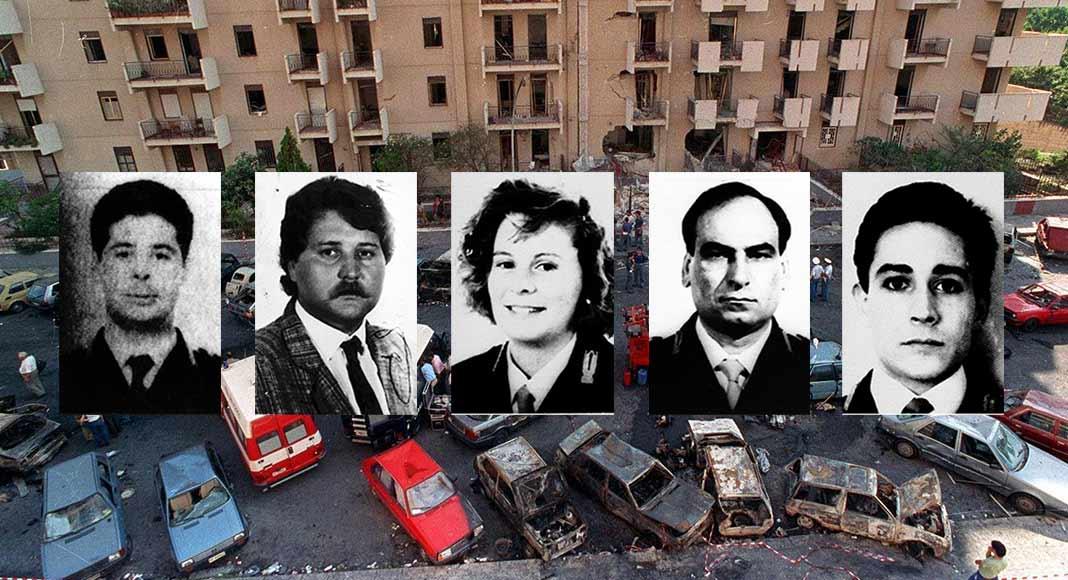 In memoria della scorta di Borsellino, vittime della mafia