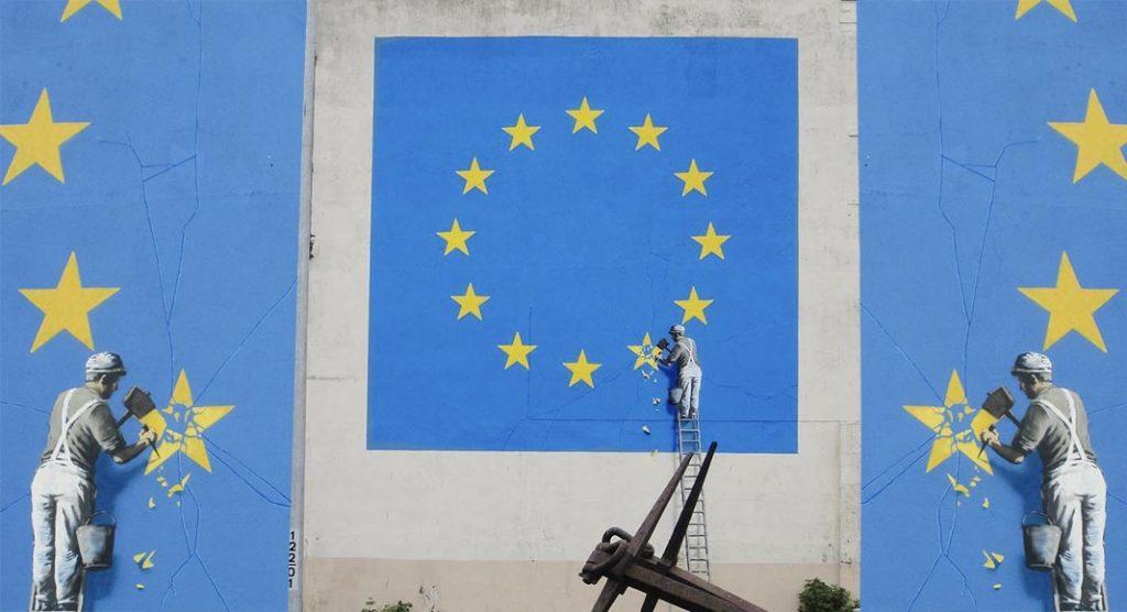 Scompare il murale di Banksy contro la Brexit