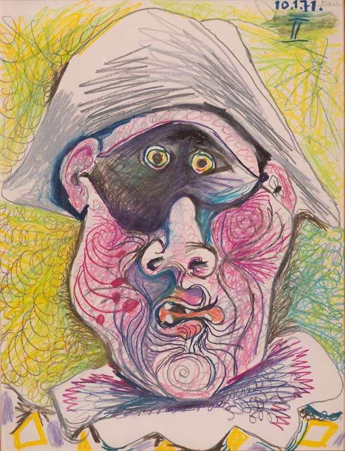 32. Pablo Picasso Testa di Arlecchino II 1971 matita su pastello su carta 652 x 502 cm © Johannesburg Art Gallery