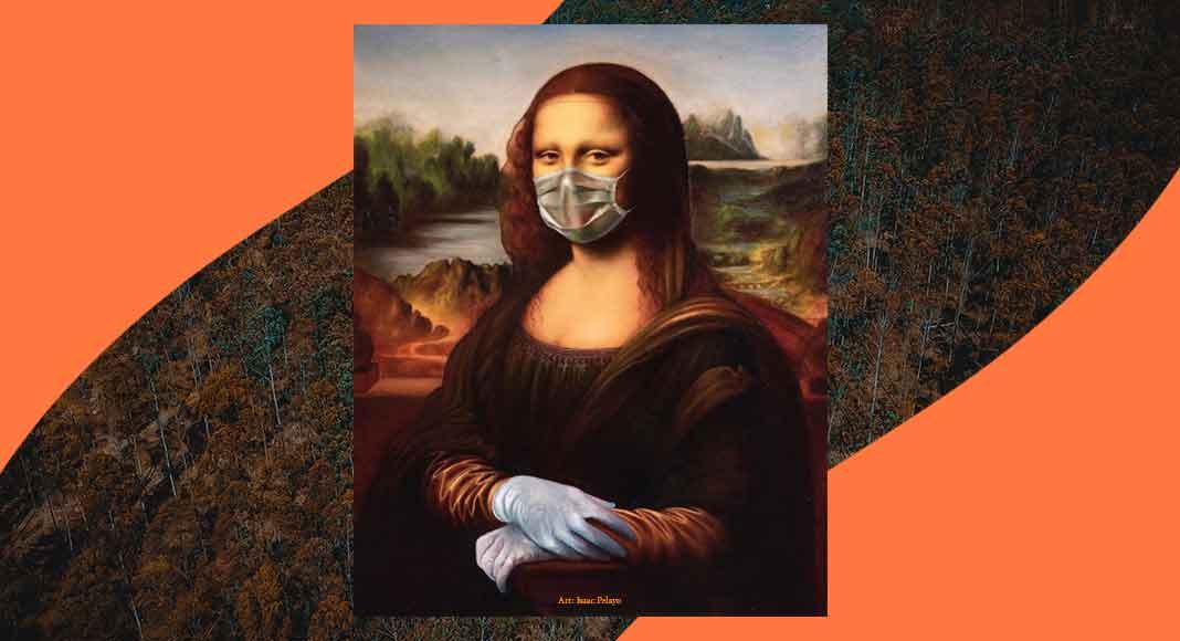 Le opere d'arte con la mascherina scendono in campo contro il Coronavirus