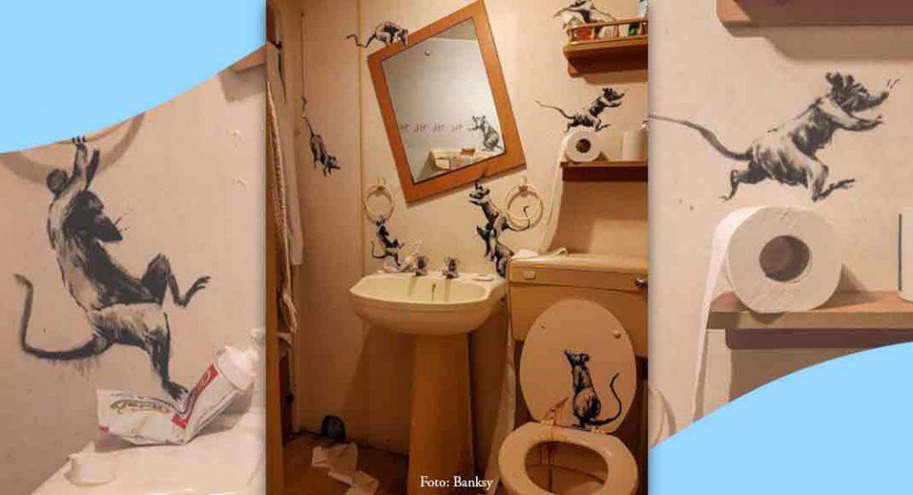 """Banksy, """"Mia moglie odia quando lavoro a casa"""". L'ultima opera è in bagno"""