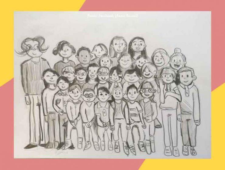 La foto di classe di fine anno con il disegno del piccolo Francesco