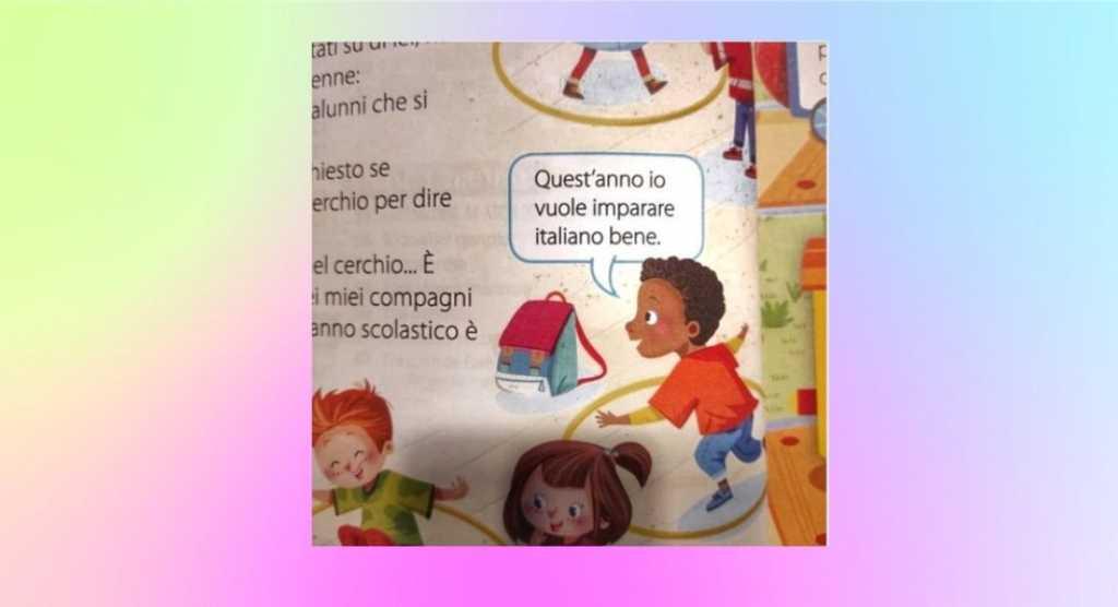 """""""Io vuole imparare italiano"""", frase razzista su libro di testo elementare"""
