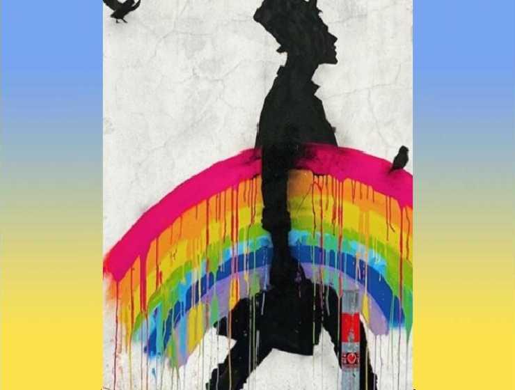 Un uomo si porta via l'arcobaleno, l'ultimo murales di Kenny Random