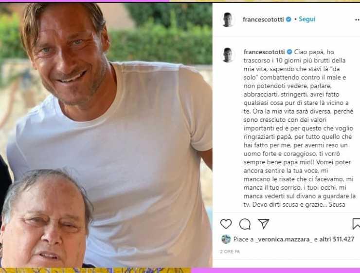 """La lettera d'addio di Totti a papà Enzo: """"Scusa per le parole non dette"""""""