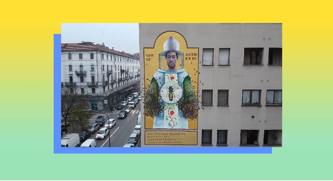 Sant'Ambrogio, un grande Murales a Milano per omaggiare il patrono