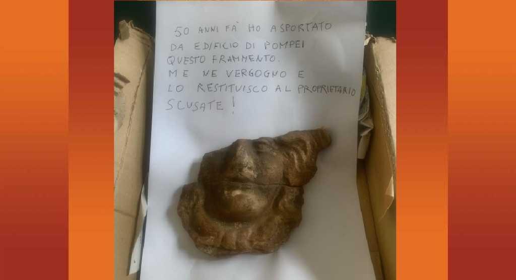 Pompei, dopo 50 anni visitatore pentito restituisce reperto rubato