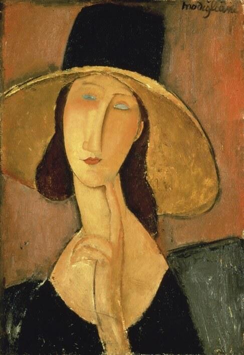 Jeanne Hebuterne con grande cappello